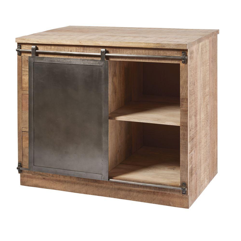 MELCHIOR - Meuble bas de cuisine 144 tiroirs 14 porte en manguier