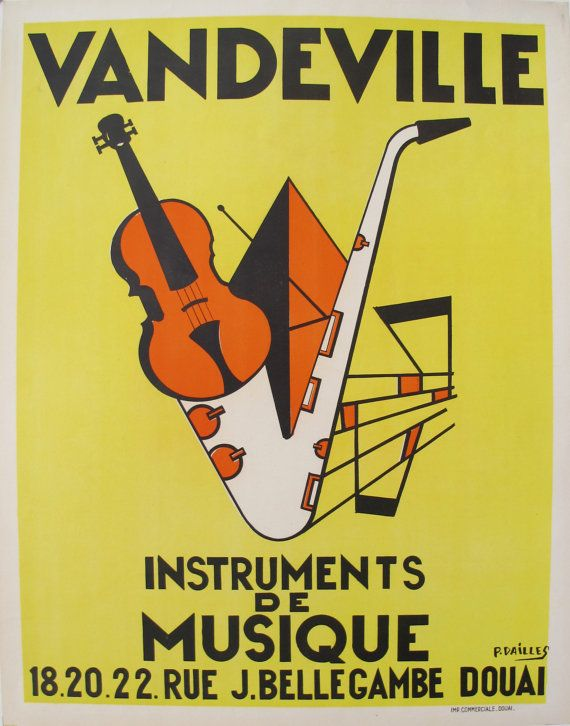 1950s French Art Deco Music Poster - Jazz Poster, Yellow Print ...