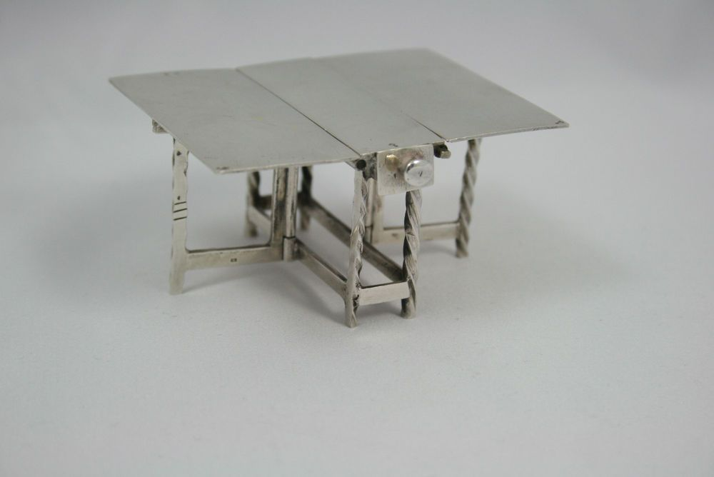 ANTIQUE DUTCH MINIATURE SILVER GATE LEGGED TABLE DOLLHOUSE FURNITURE