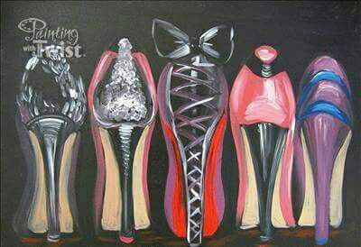 High Heel Shoes Paint Sip In 2019 Painting Art Wine Painting