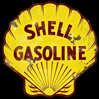 """Shell Tractor Lubrication Round Metal 12/"""" Circle Tin Sign"""
