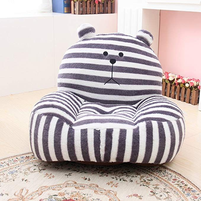 MAXYOYO Super Cute Grey Striped Bear Stuffed Plush Toy Bean Bag