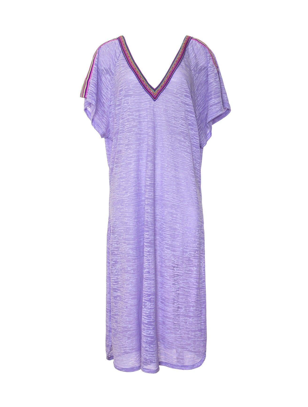 This oversized V-neck caftan dress by Pitusa is trimmed with a bright contrast band.  Band cuts a...