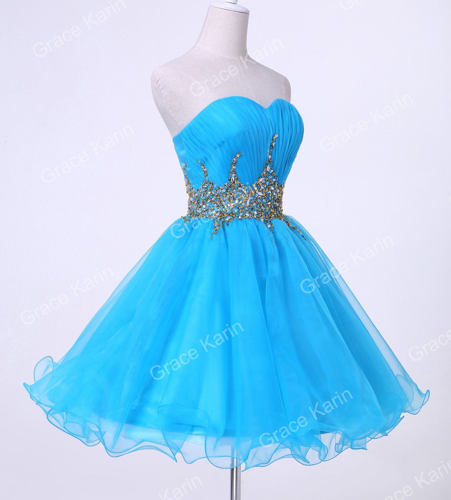 Blue women strapless voile ball cocktail evening party mini prom