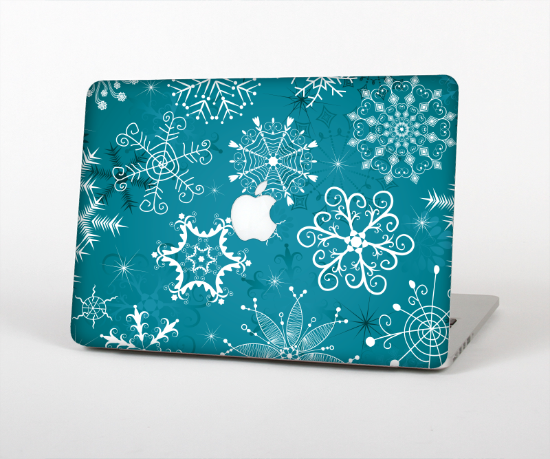 """The Intricate Snowfakes with Green Background Skin Set for the Apple MacBook Pro 15"""" with Retina Display from Design Skinz"""