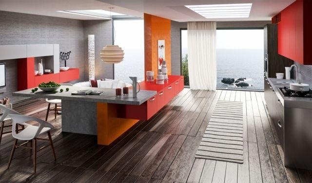 moderne Küchenfarben 2014 rot orange grau Kochinsel graue ...