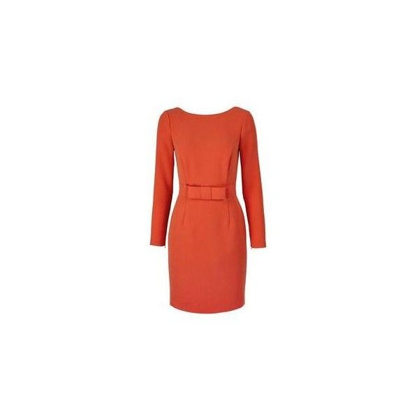 Reiss Genie Bow Front Dress (£190) ❤ liked on Polyvore featuring dresses, mandarin, reiss, red dress, mandarin dress, structured dress and bow front dress