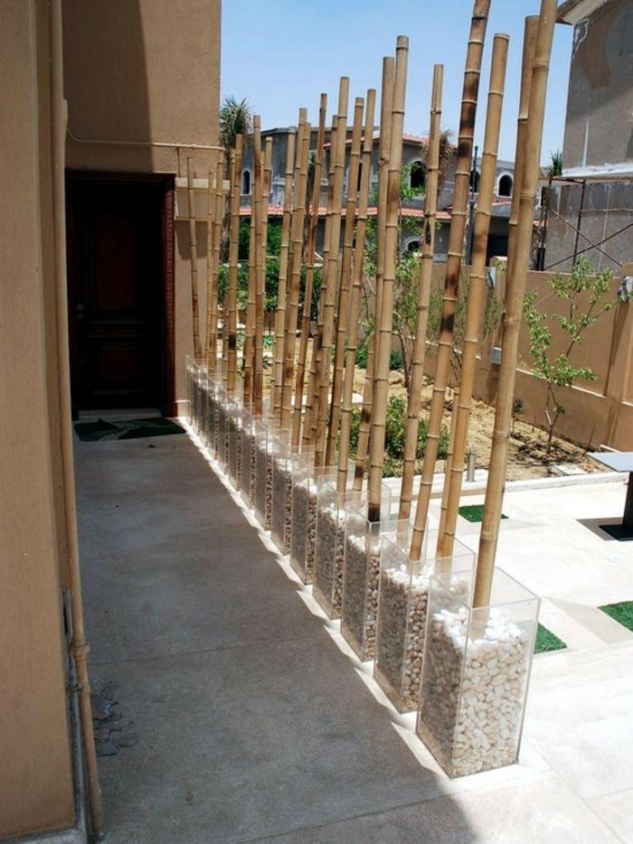 bambus deko bambusstangen ideen gartengestaltung außengestaltung