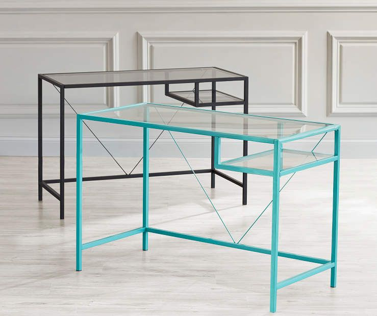 Just Home Glass Desk Collection At Big Lots Glass Desk Modern Home Office Furniture Furniture