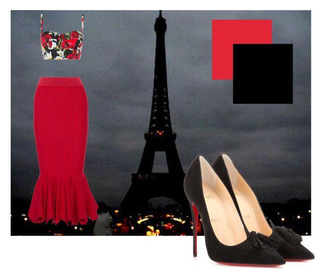 """Paris nights"" by j-priss on Polyvore featuring Dolce&Gabbana, Jonathan Simkhai, Christian Louboutin, DateNight, paris and florals"