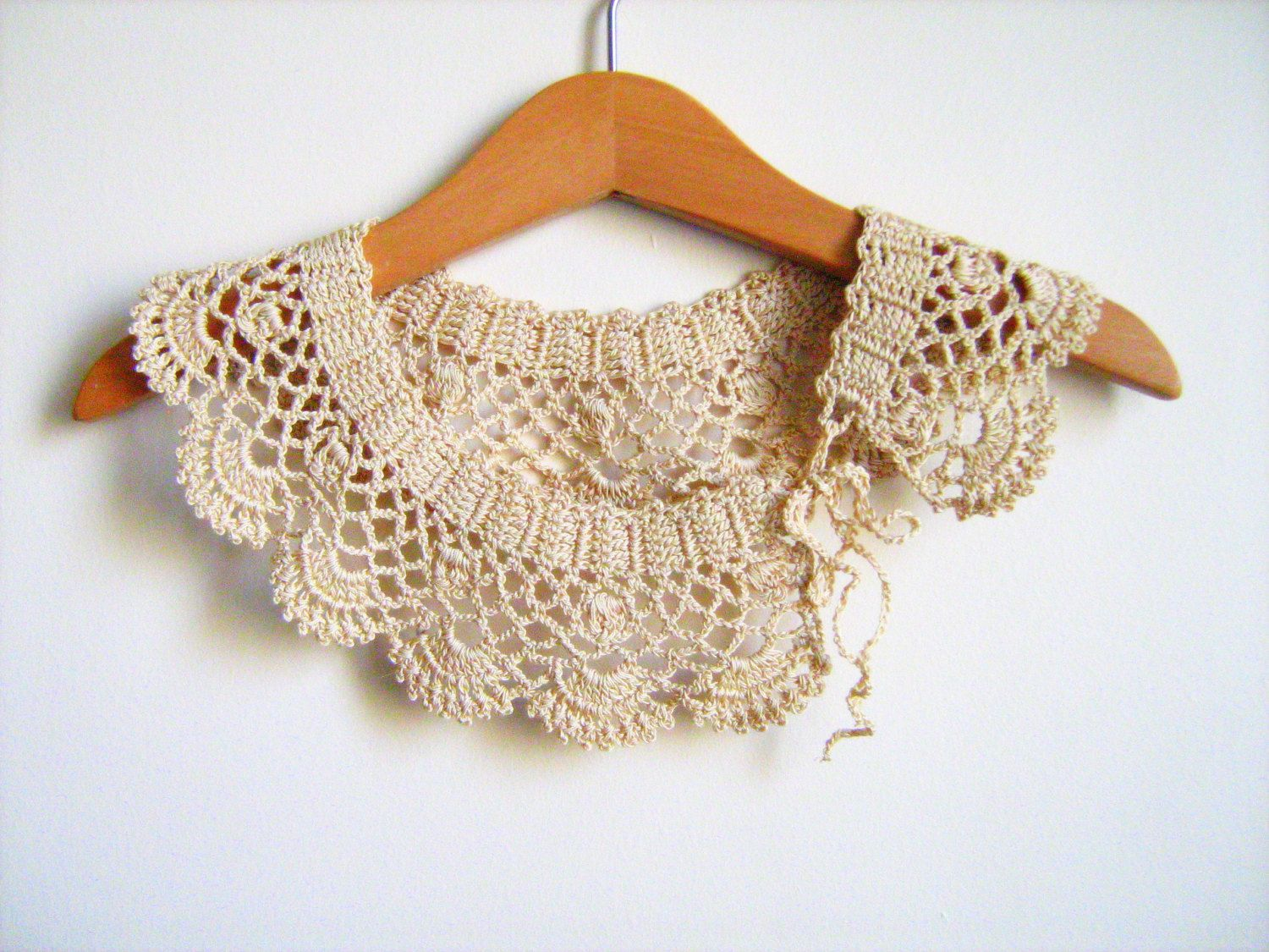 Collar necklace handmade crochet peter pan collar necklace beige collar necklace handmade crochet peter pan collar necklace beige cotton collar ready to bankloansurffo Image collections