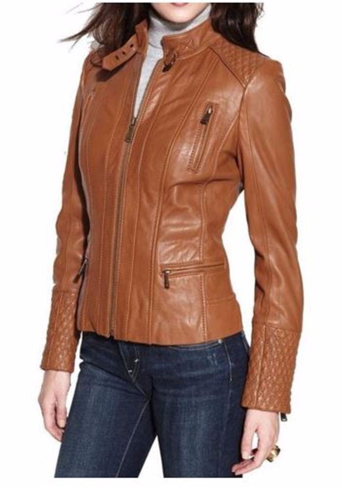Women's Genuine Lambskin Leather Jacket Tan Slim fit Biker ...