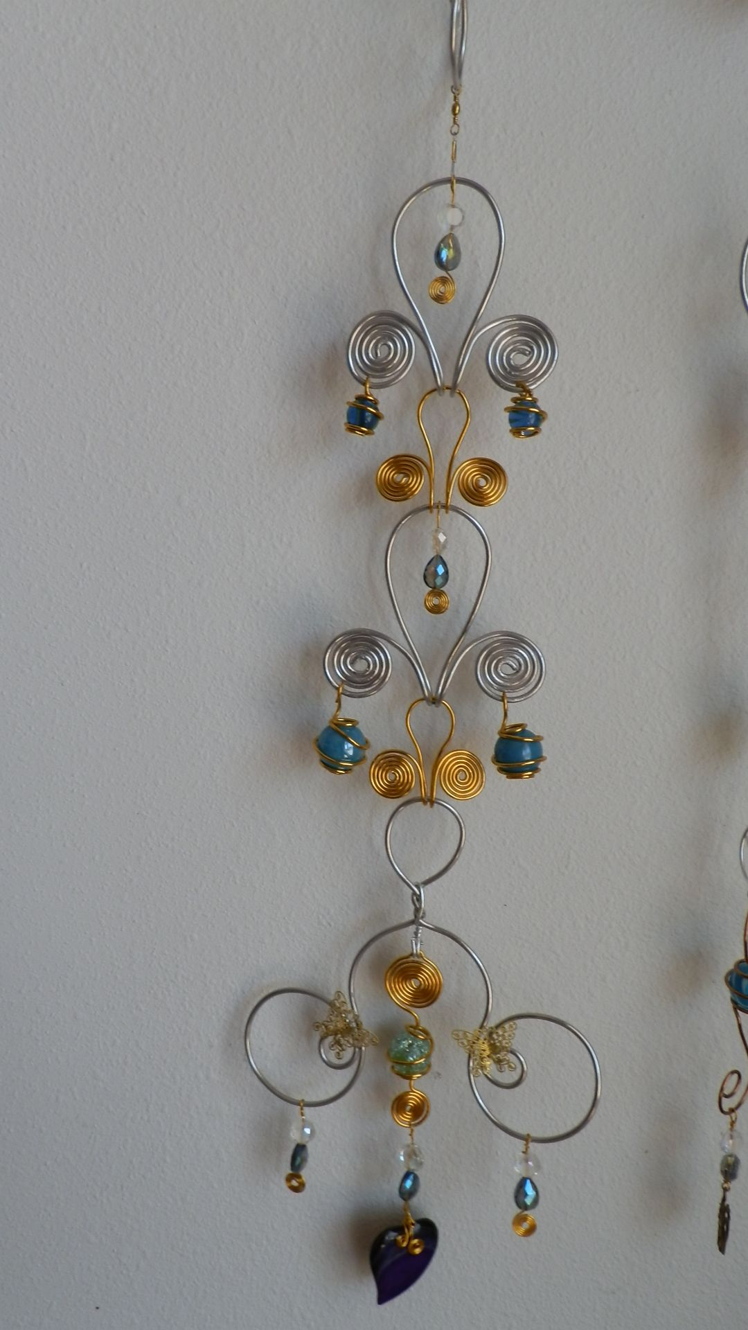 Sun Catcher Wind Chime Wire Marbles And Beads Handmade