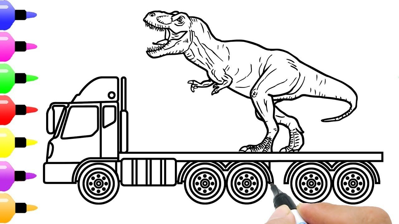 How to Draw Dinosaur Transport Truck for Kids and Shark ...