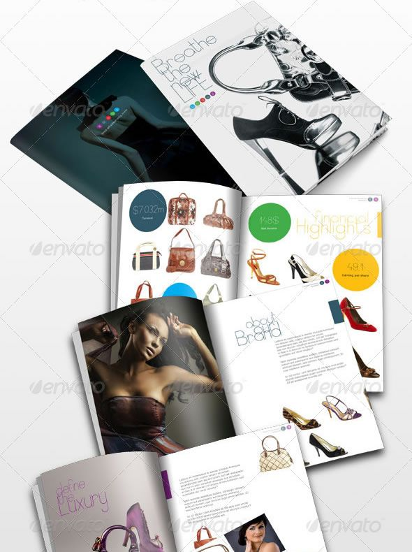 24 Pages Fashion Magazine \/ Catalogue Brochure Design Templates - fashion design brochure template