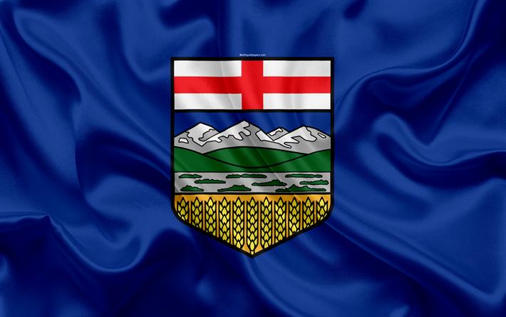 Download Wallpapers Flag Of Alberta Canada 4k Province Alberta