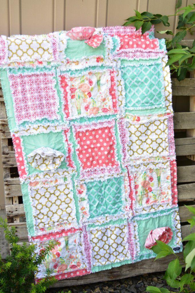 Ruffle Baby Bedding Girl Nursery Bedding Crib or Toddler Quilt Floral Crib Bedding Baby Rag Quilt Pink  Mint  Yellow Crib Bedding