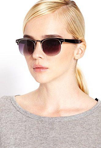 Retro Half-Frame Sunglasses