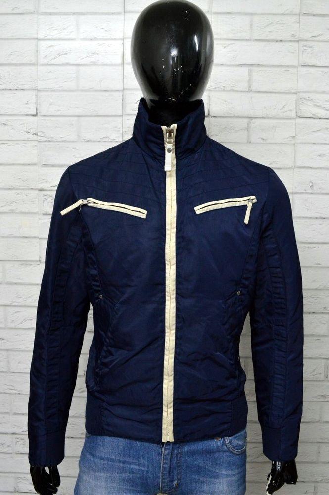 Giubbino ENERGIE Uomo Taglia Size L Cappotto Giubbotto Bomber Giacca Jacket  Blu f8e0b08d86d