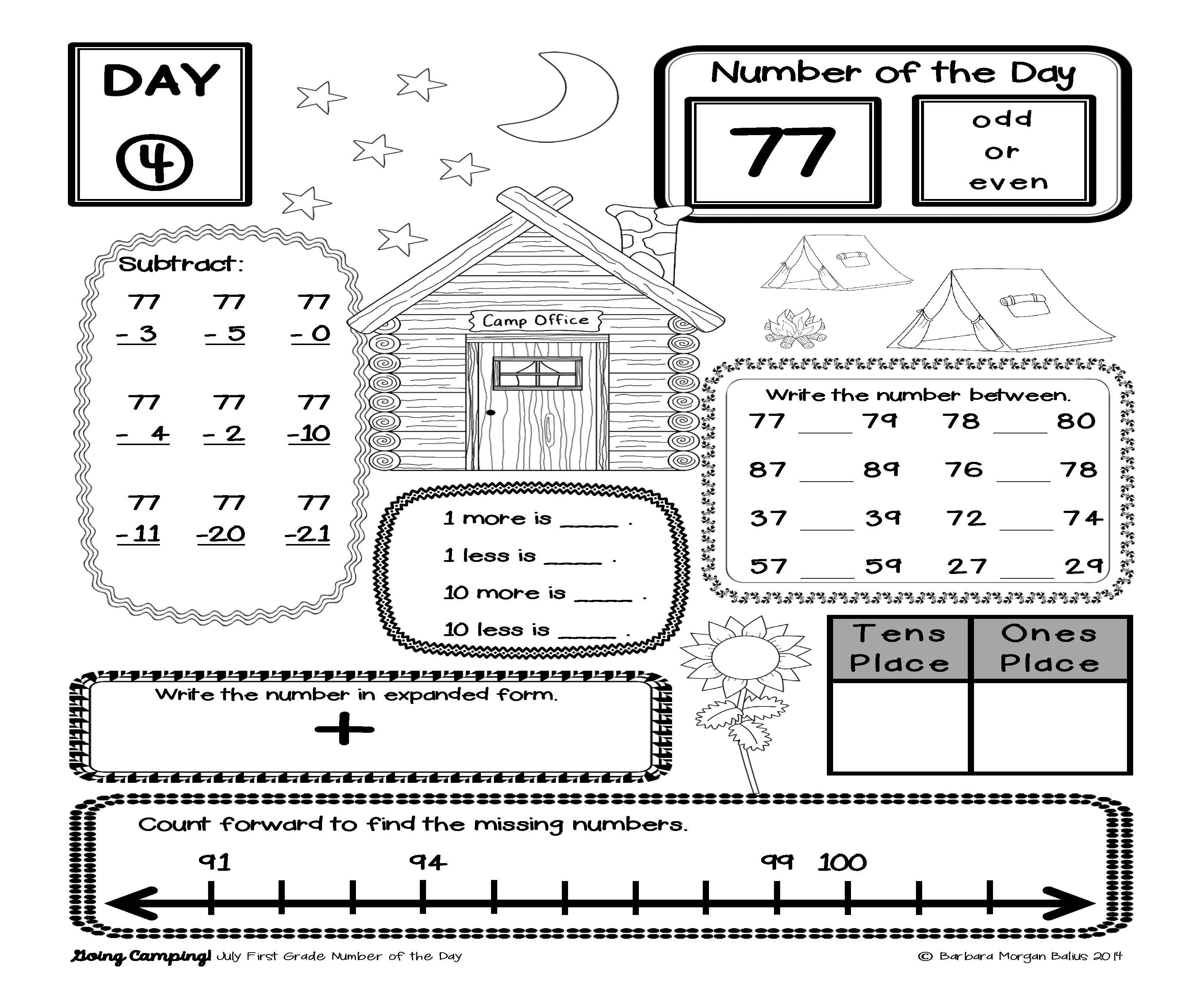 Morning Work Number Of The Day Place Value Practice First
