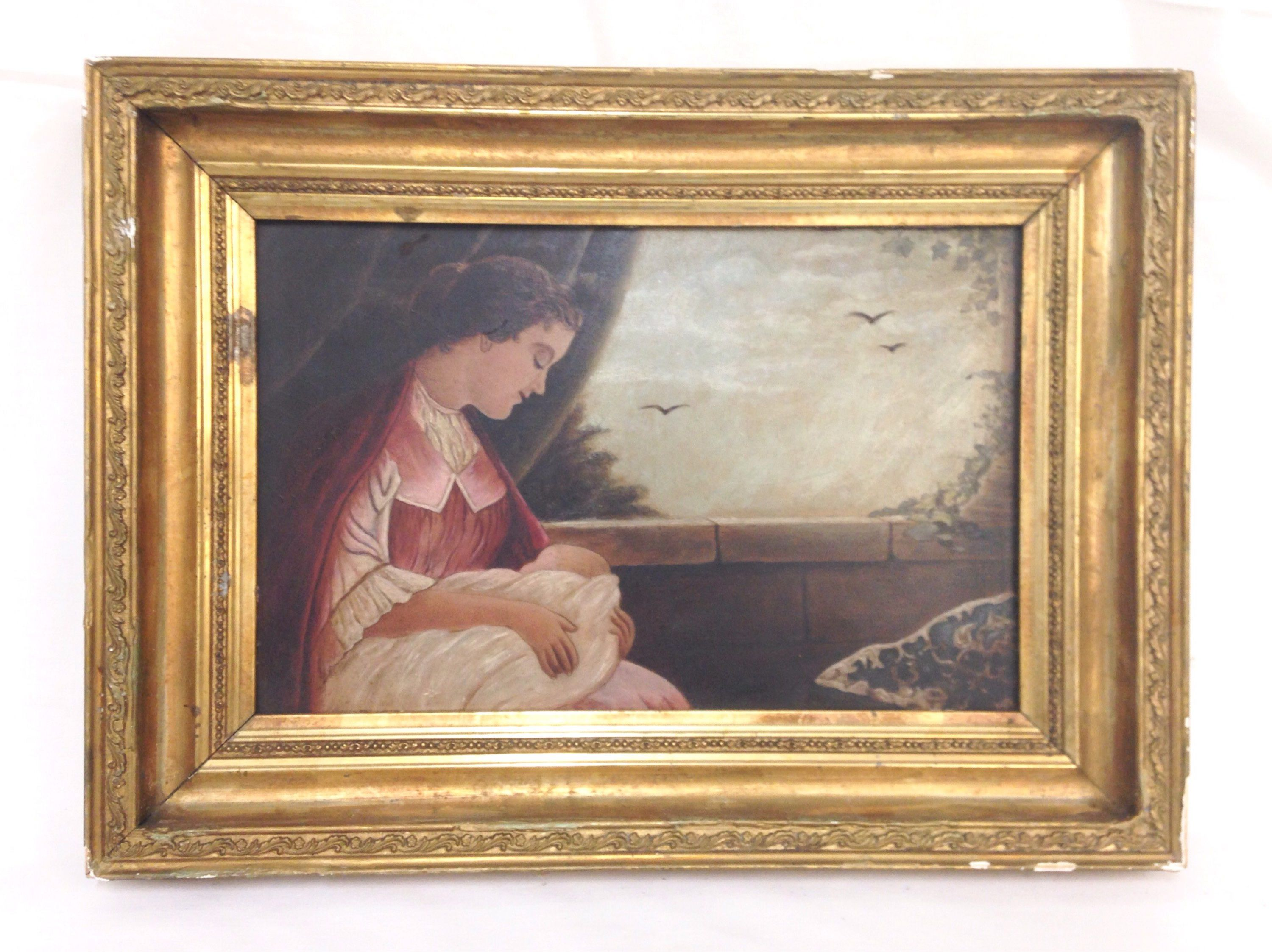 Original Antique Oil Painting Mother Child Infant Unsigned Morning ...