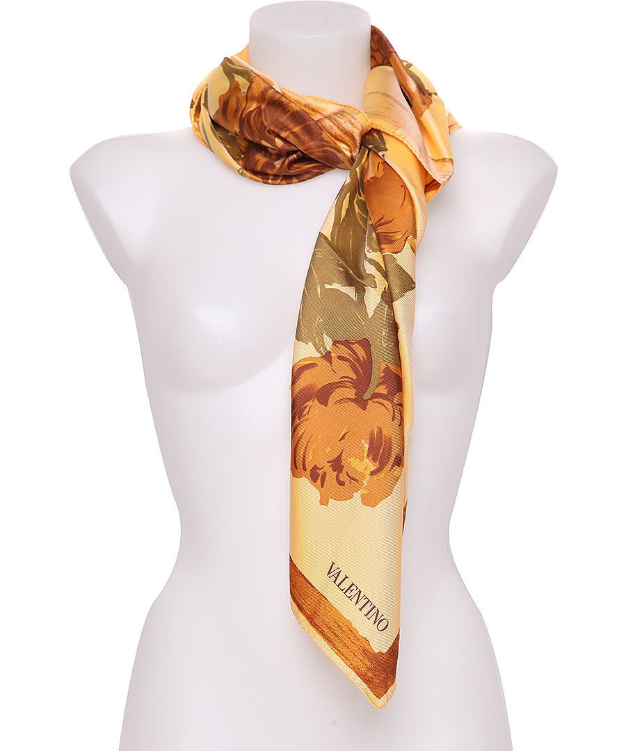 Square Flower Foulard Silk Scarf Gold Sale - Valentino