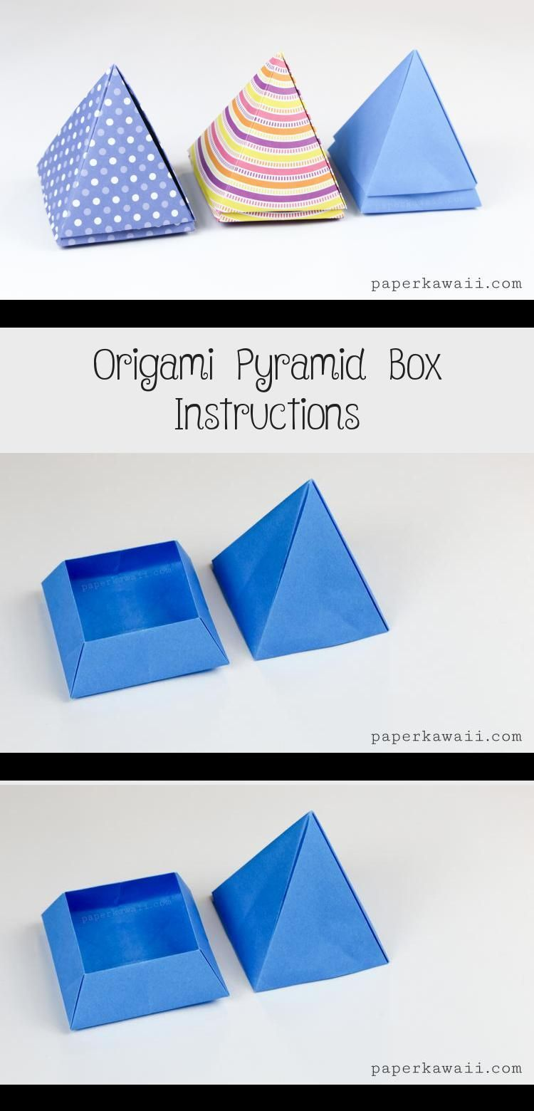 Photo of Origami Pyramid Box Instructions via Paper Kawaii #origamiPapiroflexia #origamiC…