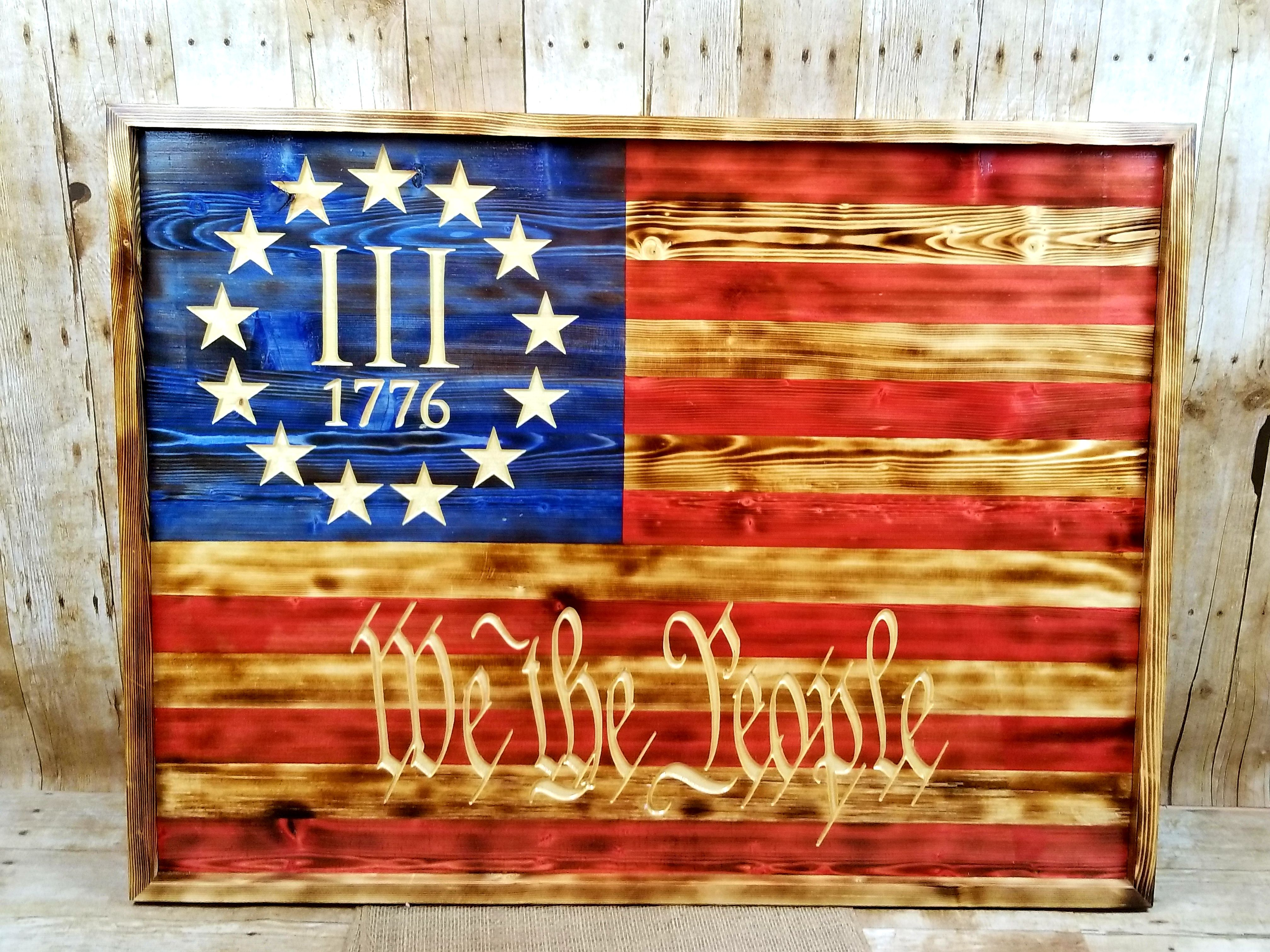Add to cart handmade rustic american flag we the people