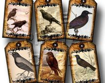 Crows/Ravens PRiMiTiVe & TaTTeReD Vintage Graphics Mini Hang/Gift Tags -Printable Collage Sheet Download JPG Digital File-Buy 1 Get 1 FREE