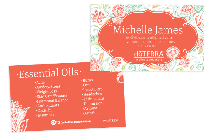 Paisley Coral Theme Doterra Business Card For Wellness Advocates