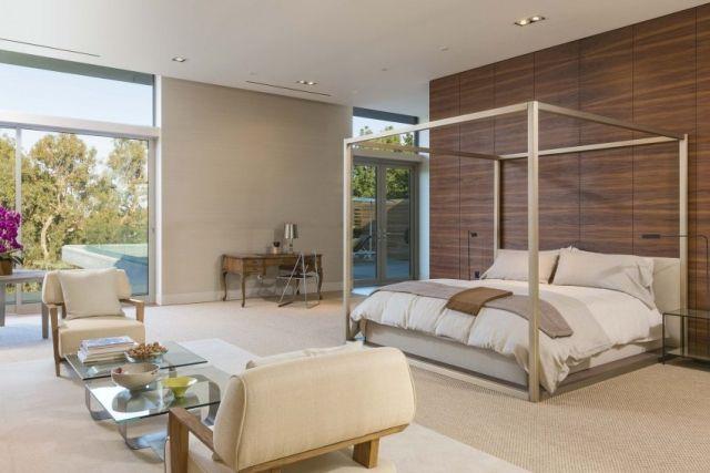 luxus schlafzimmer-himmelbett rahmen holzwandplatten ecru