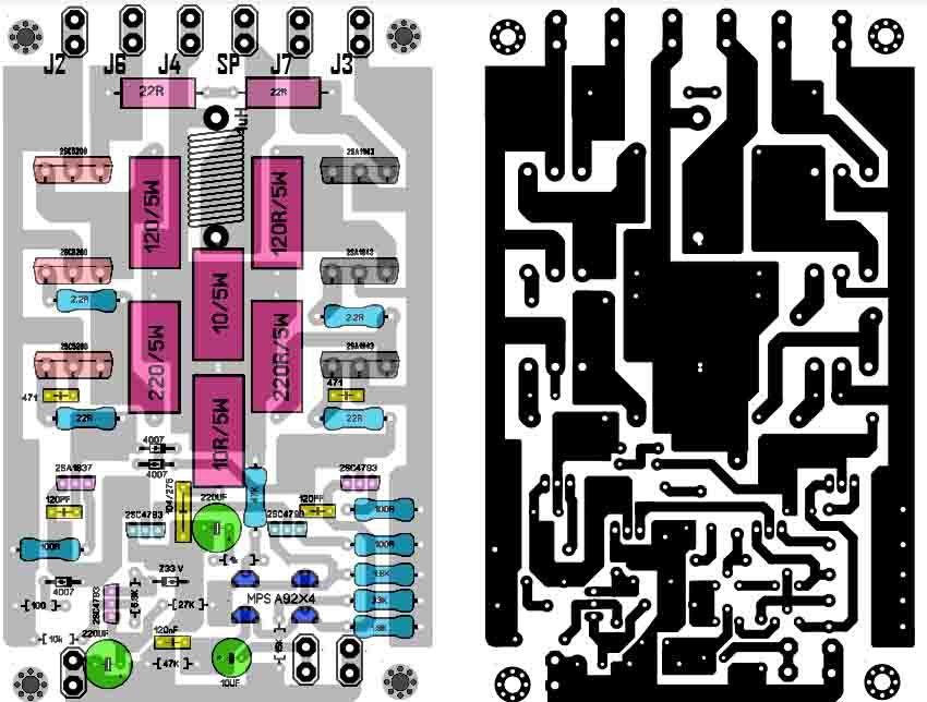 Skema Layout Pcb Power Amplifier Pcb Circuits