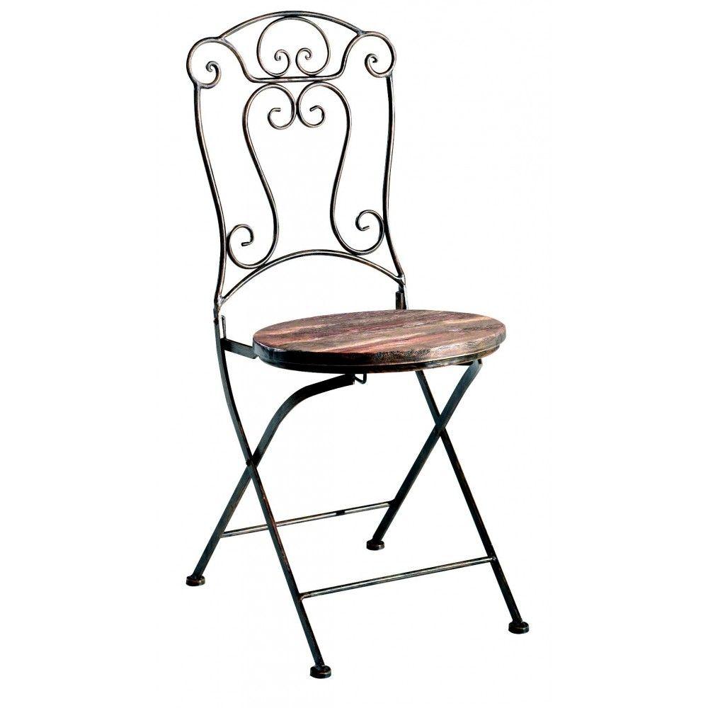 Chaise pliante bois et Fer Forgé JEANNE Pier Import