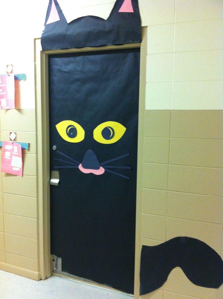 puerta gato peques Pinterest Puertas decoradas, Gato y Colegios
