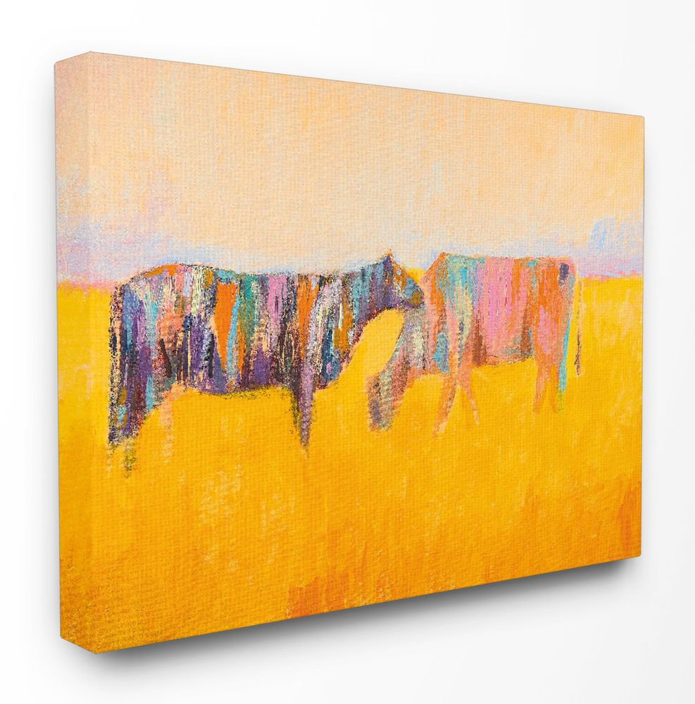 Abstract Color Grazing Cows\' Framed Graphic Art Print on Stretched ...