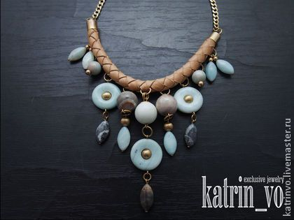 Колье из натурального амазонита, кожи и латуни - бежевый,ожерелье,колье