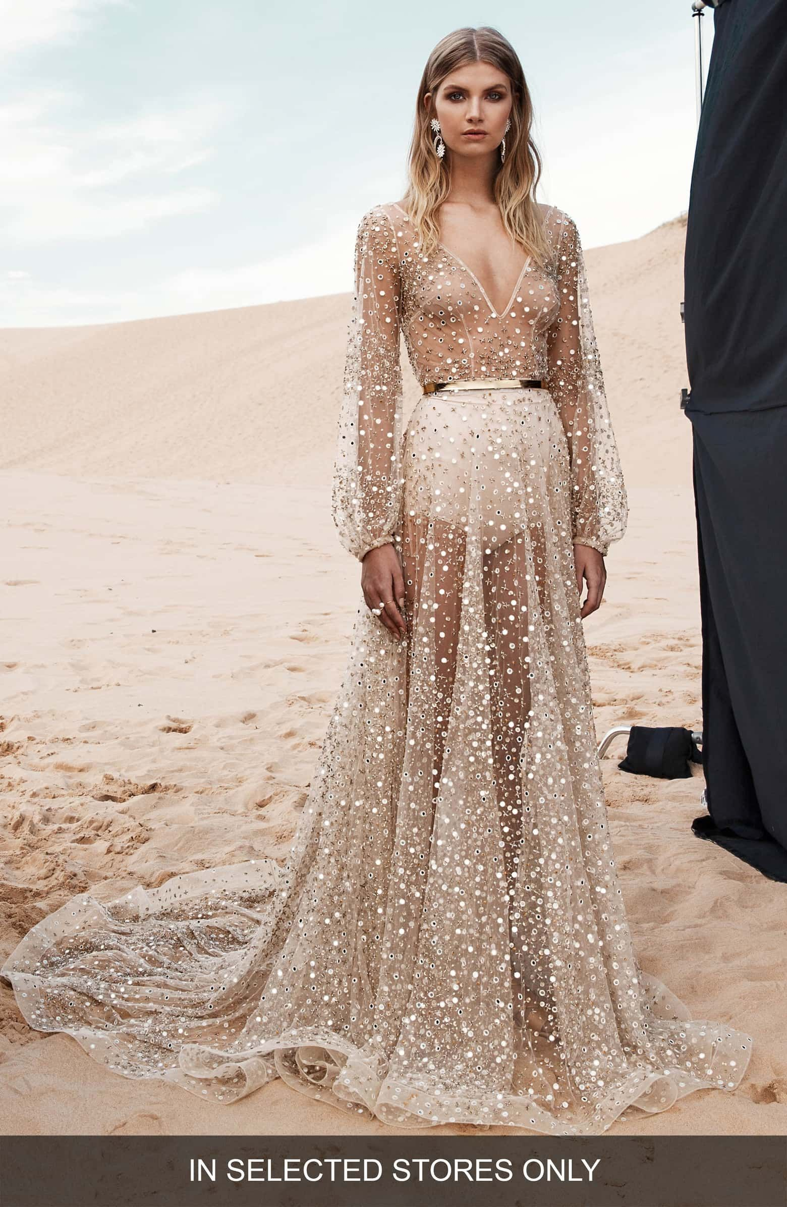 Chosen By One Day Nala Gold Mirrored Tulle Gown Tulle Gown