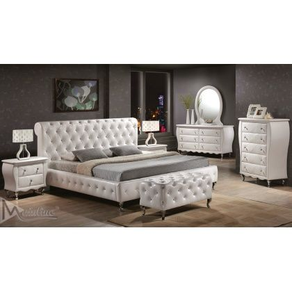 MNL- JULIET White Button Tufted Leather Bedroom Set With Chrome Legs ...