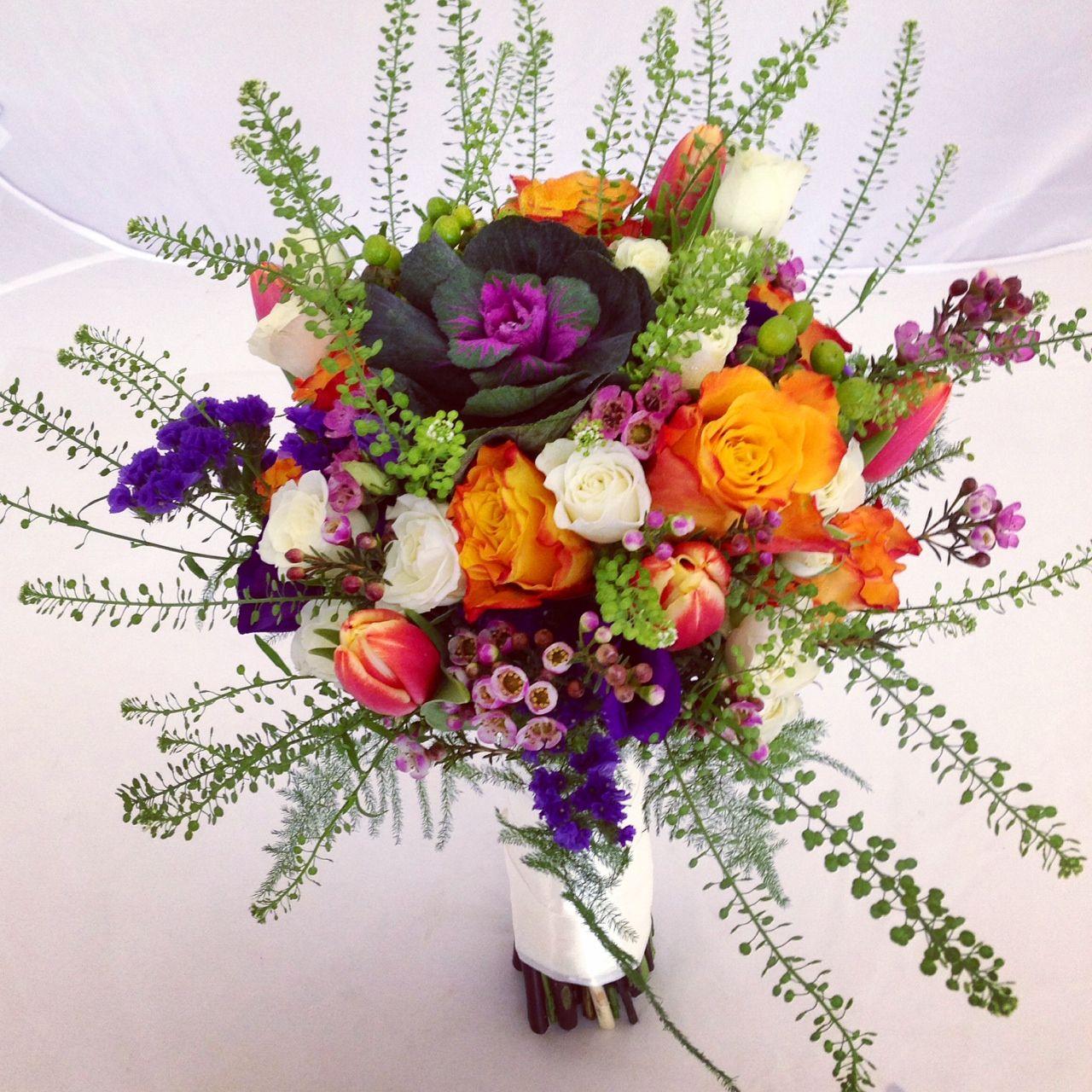 Mixed colourful bridal bouquet, unusual bridal bouquet