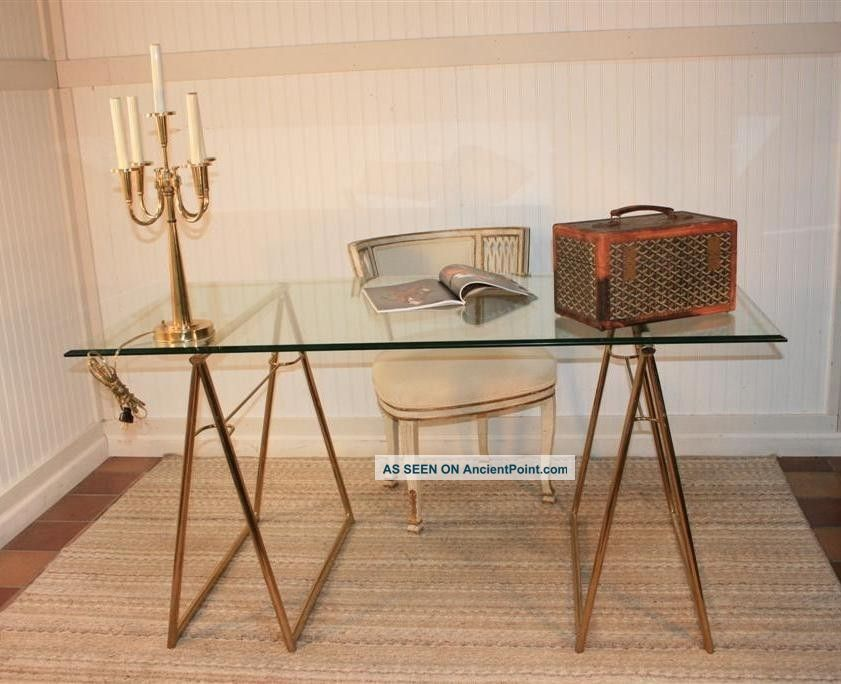 Mid Century Modern Br Plated Gl Top Sawhorse Desk Table Hollywood Regency Post 1950 Photo
