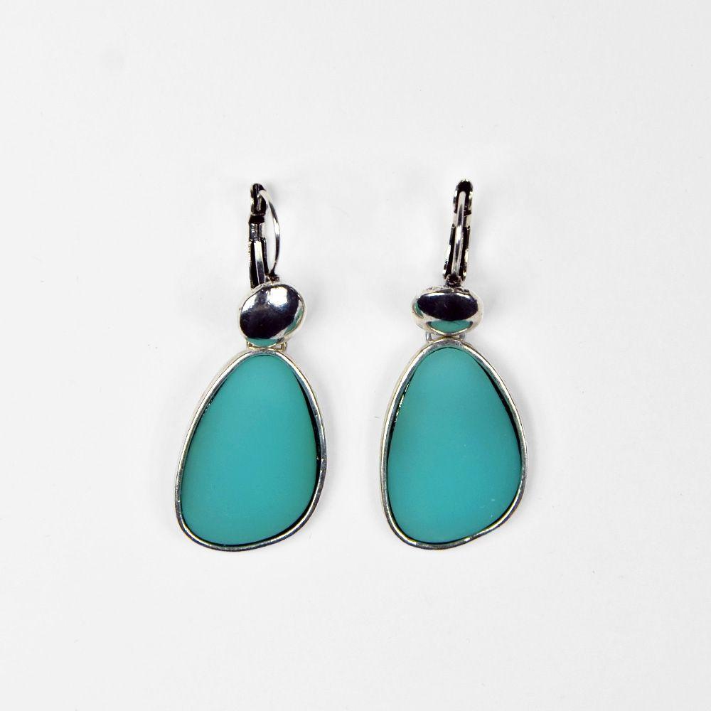 Boucle d'oreille pierre précieuse lisse bleu turquoise