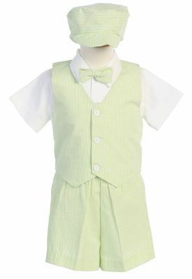 Green Baby Boy Infant Toddler Formal Party Gingham Shorts Vest Suit sz S-XL 2-4T