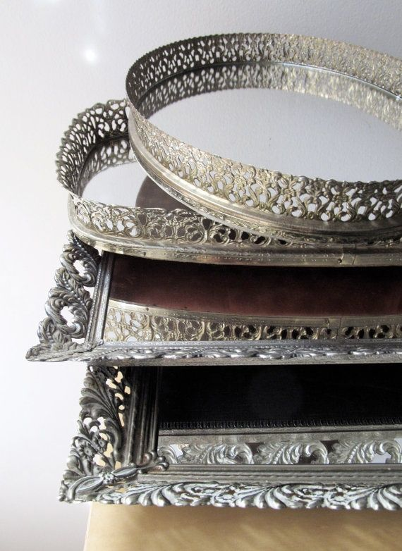 Mirror tray - Mirrored Trays........ Think I Might. Antique Mirrored Vanity  Tray Antique Furniture ... - Antique Mirrored Vanity Tray Antique Furniture