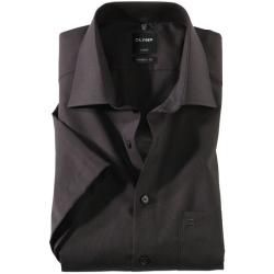 Photo of Olymp Luxor short sleeve shirt, modern fit, New Kent, black, 46 Olymp