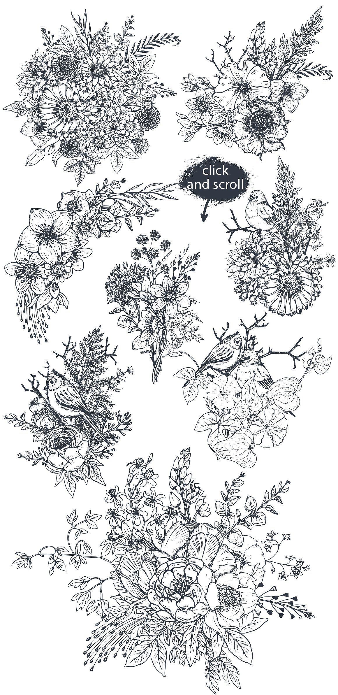 Hand drawn flowers and bouquets by fancy art on creativemarket