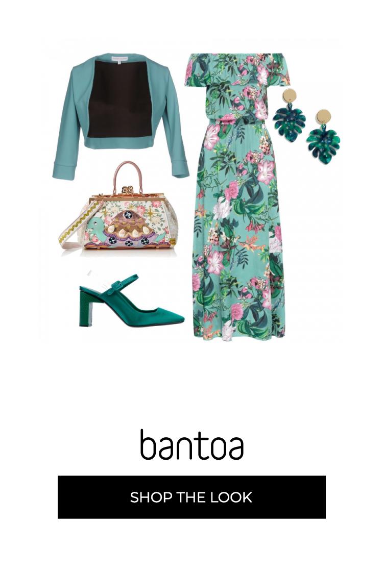 beb34c2c2bb3 Outfit elegante e sbarazzino per una cerimonia giorno. Abito lungo floreale  abbinato ad accessori verde e turchese.
