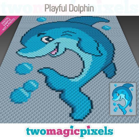 Playful Dolphin crochet graph (c2c, mini c2c, sc, hdc, dc, tss), cross stitch, knitting; PDF download, no counts or instructions