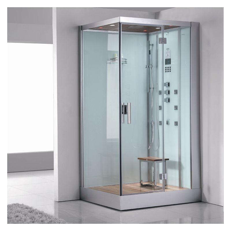 """Ariel DZ960F8-L Platinum 89"""" Steam Shower Enclosure with Shower System on Left White Steam Showers Steamroom Enclosures Shower System"""