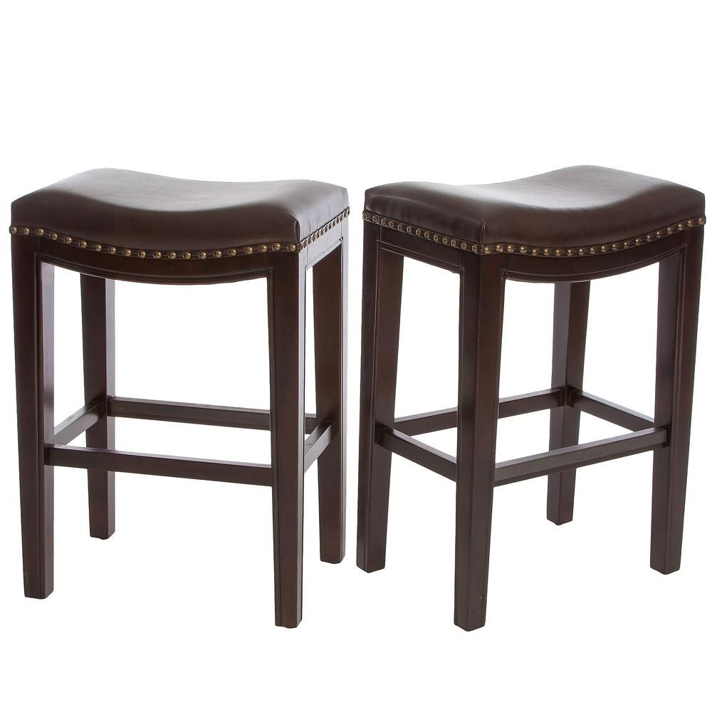 Noble House Avondale 26 In Brown Cushioned Counter Stool Set Of