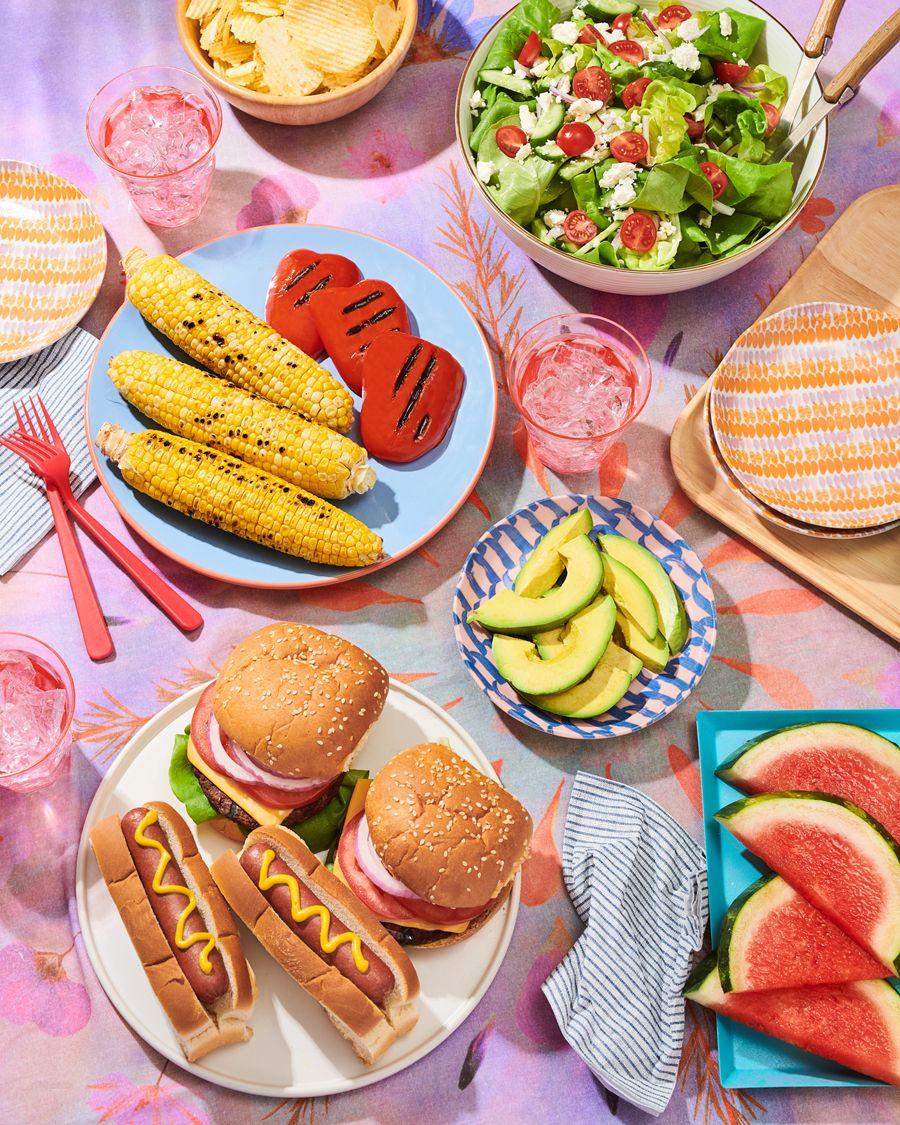Burger, Hot Dog, Grilled Corn, Pepper, Salad Picnic #artdirection
